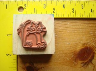 Cute Kitty Cat with Sting Tied on Tail by Imaginations Rubber Stamp