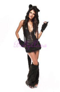 Sexy Ladies Cute Lovely Black Cat Kitten Fox Fancy Dress Adult