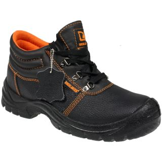 MENS STEEL TOE CAP MIDSOLE SAFETY WORK BLACK LEATHER SHOES BOOTS