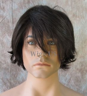 Mens Wigs Medium Dark Brown Long Bangs Choppy Layers Short Man Wig