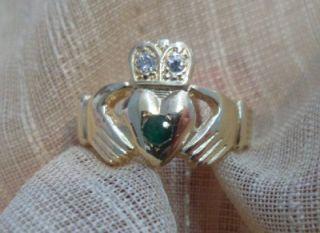Mens 14k Yellow Gold Irish Claddagh Diamond Emerald Ring