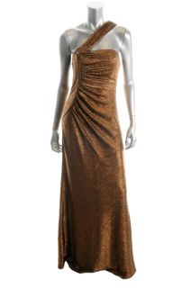 David Meister New Bronze Metallic One Shoulder Gown Formal Dress 8