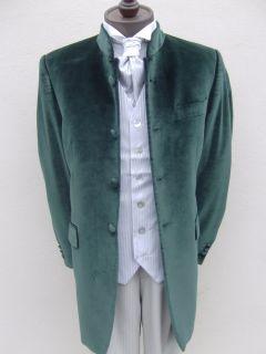 Mens Velvet Green Nehru Style Wedding Dress Suit Suits Jacket Sizes 38