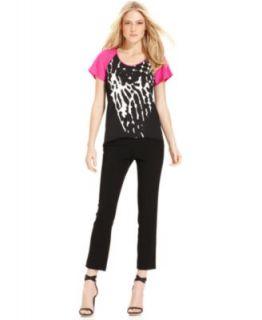 Calvin Klein Long Sleeve Tunic & Skinny Printed Ankle Pants   Womens
