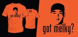 GOT MELKY? Giants All Star Melky Cabrera T Shirt Mens Orange Shirt