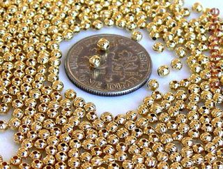 3mm Round Gold Plated Corrugated Metal Beads 100