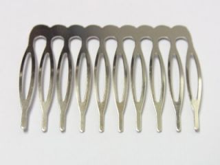 53mm 10 Tooth Metal Hair Combs Nickel Color