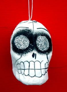 Mexican Day of The Dead Paper Mache Glittery Calavera Sugar Skull