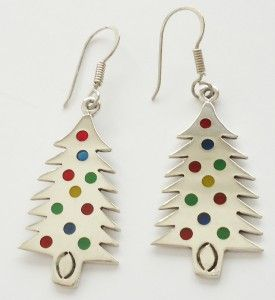 TAXCO, Mexico STERLING SILVER Christmas Tree Dangle Earrings w/ Enamel