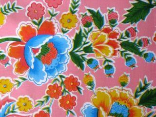 Pink Zoya Mexican Folk Floral Oilcloth Fabric 12Yd Roll