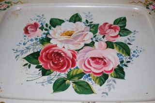 Vintage Metal TV Serving Tray Pink Roses Floral Pattern 60s 70s Retro
