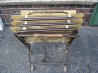 Vintage Retro TV Trays Set Fiberglass Snack Tables Cart Country Farm
