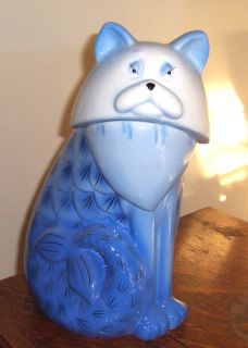 Mermaid Cat Cookie Jar NIB Discontinued Blue White