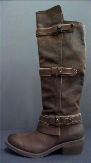 Calvin Klein Jeans Womens Zipper Over The Knee Boots 10 Medium M Brown