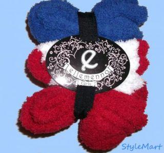 New Girls Ellemenno Fluffy Soft Crew Socks 3 Pair 5 6 Red White Blue