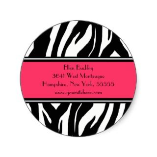 Zebra Print Custom Address Labels Seal Round Stickers