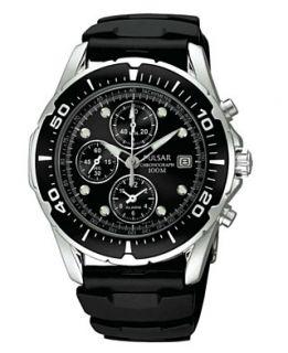 Pulsar Watch, Mens Black Polyurethane Strap PF3293