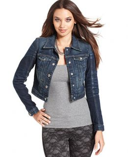 GUESS Jacket, Santa Cruz Long Sleeve Cropped Denim Jean   Womens