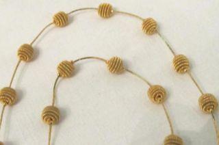Trifari Vintage Gold Tone Coil Mesh Ball Necklace