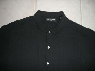 Brandini Mens 100 Silk Button Down Camp Shirt XL Black Short Sleeves
