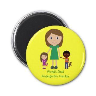 Worlds Best Kindergarten Teacher Cute Cartoon Magnet