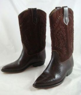 Vintage Womens Seychelles Mexican Suede Reptile Leather Western Boots