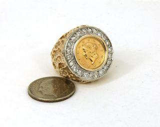 Vintage 14k 22K Gold Diamonds Coin Band Ring