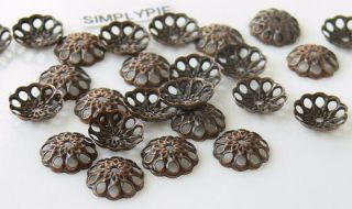 8mm Fancy Antiqued Copper Metal Bead Caps 40