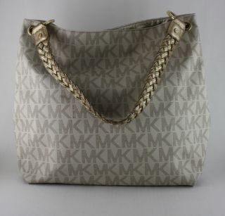 Michael Kors White MK Logo PVC Large Shoulder Tote Hobo Bag $278
