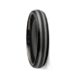 Envyj Tungsten Carbide Mens 6mm Black Wedding Band Ring NV21A Size 9