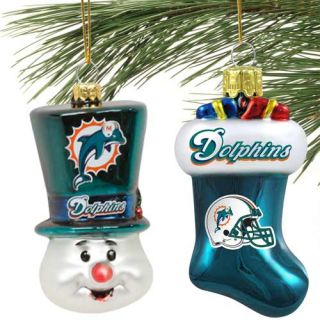 Miami Dolphins 2 Piece Blown Glass Ornament Set