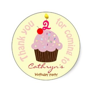 Kids Birthday Thank You Stickers Cup Cake