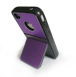 Stylus+ Aluminum TPU Hard Case Cover W/Chrome Stand For iPhone 4 4G 4S