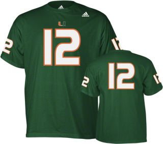 Miami Hurricanes Green Adidas 12 Football Jersey T Shirt
