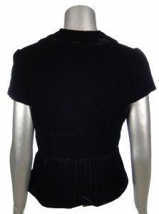 David Meister Womens 3 Button Black Velvet Short Sleeve Blazer Jacket