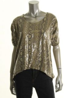 Michael Kors New Green Sequined Front Printed Scoop Neck Casual Top