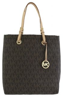 Michael Kors Logo North South PVC Tote Brown Handbag New