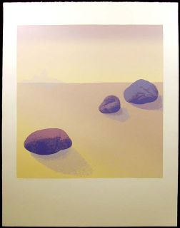 Nancy Denison Blue Rocks Landscape Signed Numbered Serigraph Desert