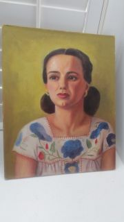 Vintage Portrait Mexican Hispanic Latin Beautiful Woman 1940s