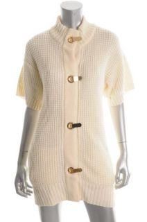 Michael Kors New Ivory Waffle Cardigan Sweater M BHFO
