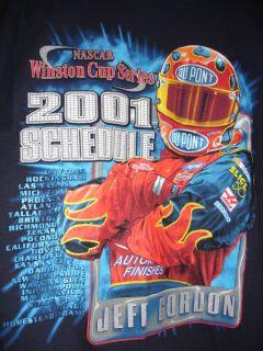 Jeff Gordon Chase 2001 NASCAR Racing Schedule T Shirt L
