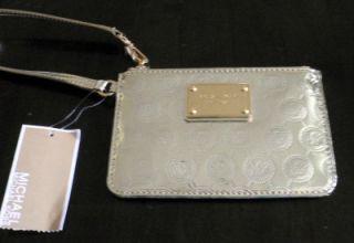 Michael Kors Jet Set Wristlet Nickel Silver Monogram Mirror Metallic