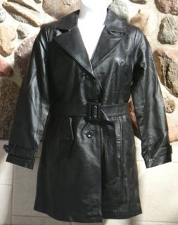 New Centigrade Leather Trench Coat Jacket with Belt Black $207 Medium