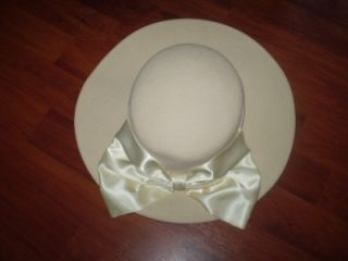 Vtg Michael Howard Miss Bierner Wool Felt Cream Hat