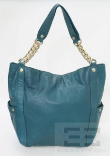 Michael Michael Kors Teal Leather Chain Strap Hobo Bag