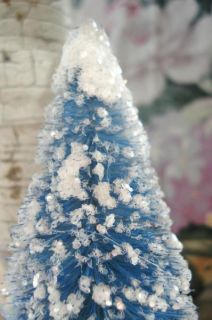Vintage French Blue Mica Glitter Christmas Dollhouse Bottle Brush Tree