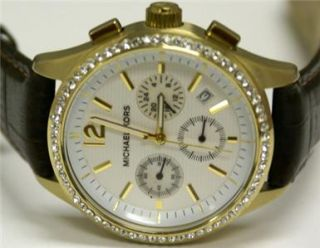 Michael Kors Womens Brown Leather Watch MK5014