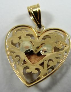 Michael Anthony 14k Yellow and Rose Gold Heart Pendant Love Filigree