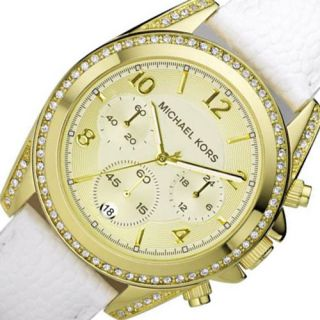 MICHAEL KORS Chronograph Womens Watch White Leather Band Crystals