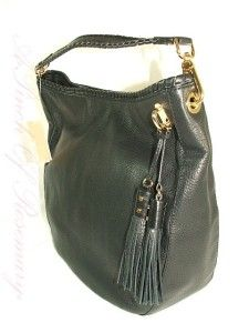 Michael Kors Bennet Large Leather Shoulder Hobo Bag Purse Black